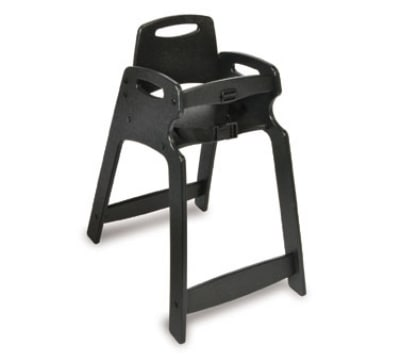 CSL 333-BLK-KD Lightweight Recycled Plastic High Chair, Assembly Required, Black