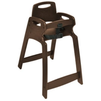CSL 333-BRN Lightweight Recycled Plastic High Chair, Assembled, Brown