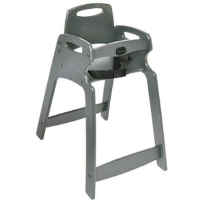 CSL 333-GRY-KD Lightweight Recycled Plastic High Chair, Assembly Required, Gray