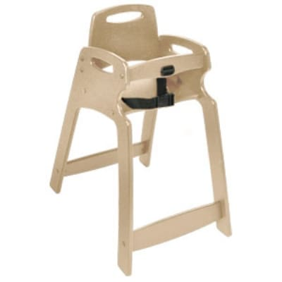CSL 333-SND-KD Lightweight Recycled Plastic High Chair, Assembly Required, Sand