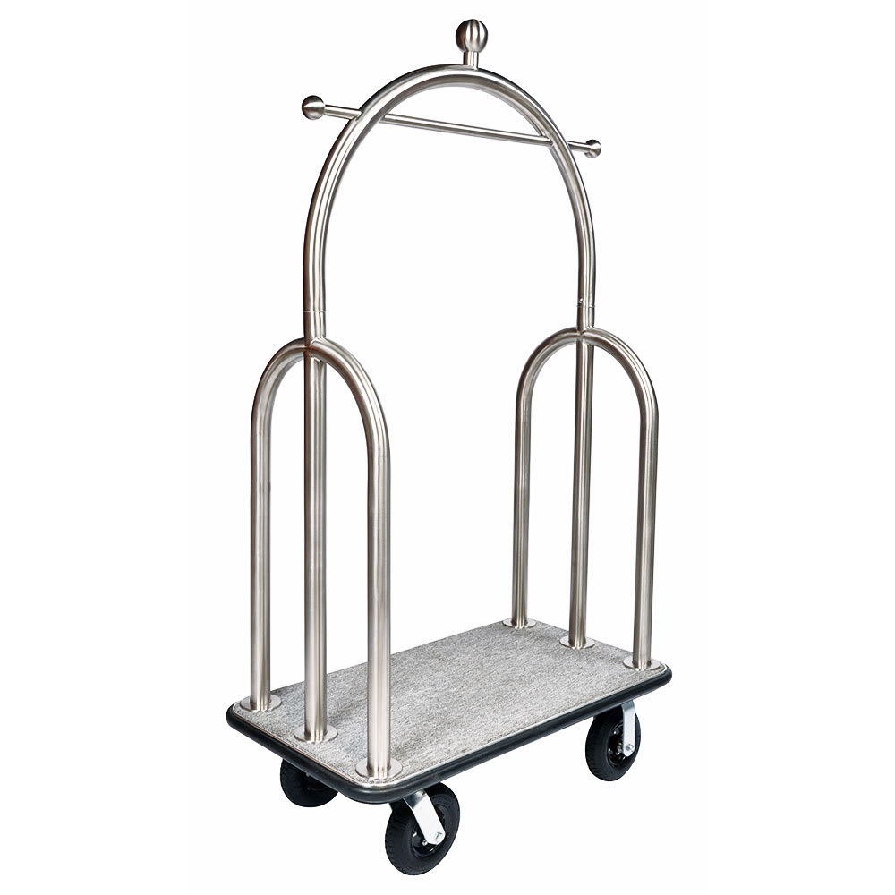 CSL 3599-BK-010-GRY Upright Hotel Luggage Cart w/ Gray Carpet, Stainless