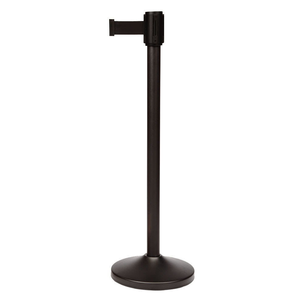 "CSL 5500BK-BLK 39"" Portable Crowd Control Stanchion, Black Stainless"