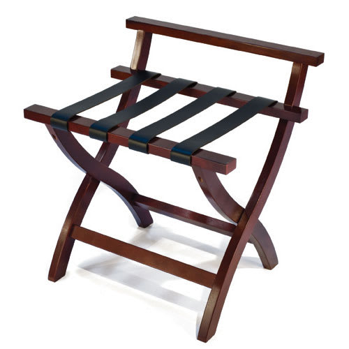 CSL 79MAH-1 Premiere Luggage Rack w/ High Back, Black Straps, Mahogany