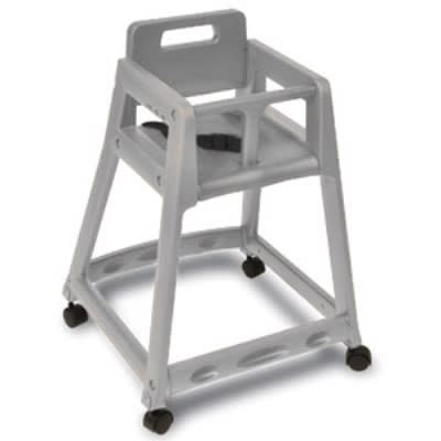 CSL 850C-DGY-KD Plastic Stackable High Chair w/ Casters, Assembly Required, Gray