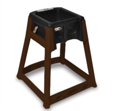 CSL 866-BLK High Chair Infant Seat w/ Black Seat, Dark Brown Frame