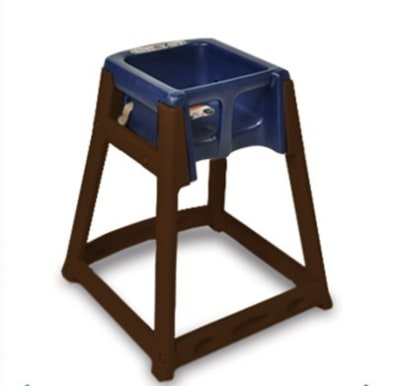 CSL 866-BLU High Chair Infant Seat w/ Blue Seat, Dark Brown Frame