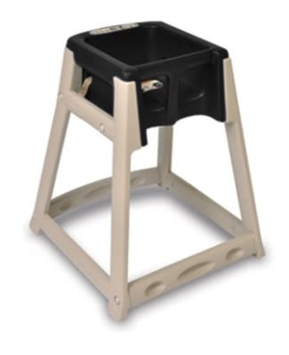 CSL 888C-BLK High Chair Infant Seat w/ Black Seat, Casters, Beige Frame