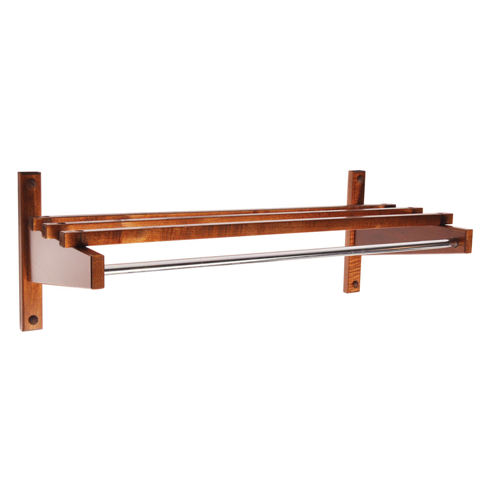 "CSL TEC30W 30"" Economy Wooden Coat Rack w/ Hanging Rod, Walnut"