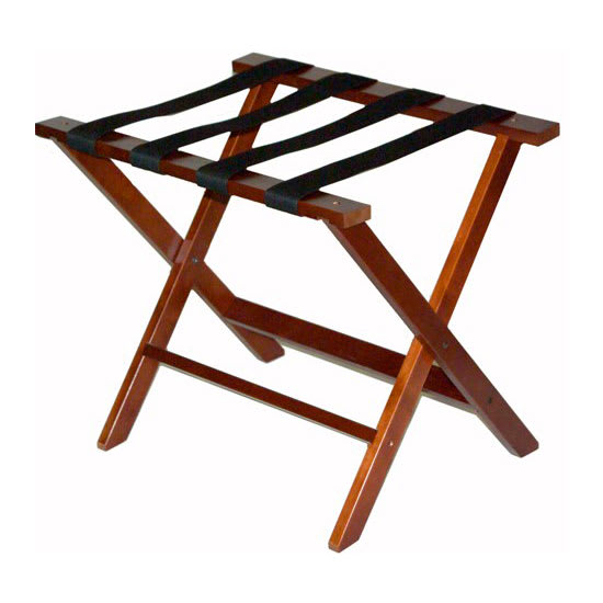 CSL TLR-100CM-1 American Hardwood Luggage Rack w/ Black Straps, Cherry Mahogany
