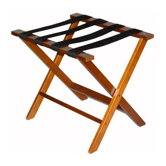 CSL TLR-100D-1 American Hardwood Luggage Rack w/ Black Straps, Dark Oak