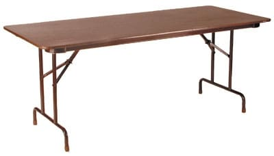 "Royal Industries CORBT3060 Folding Rectangular Banquet Table, 30 x 60"" L, Walnut Finish"