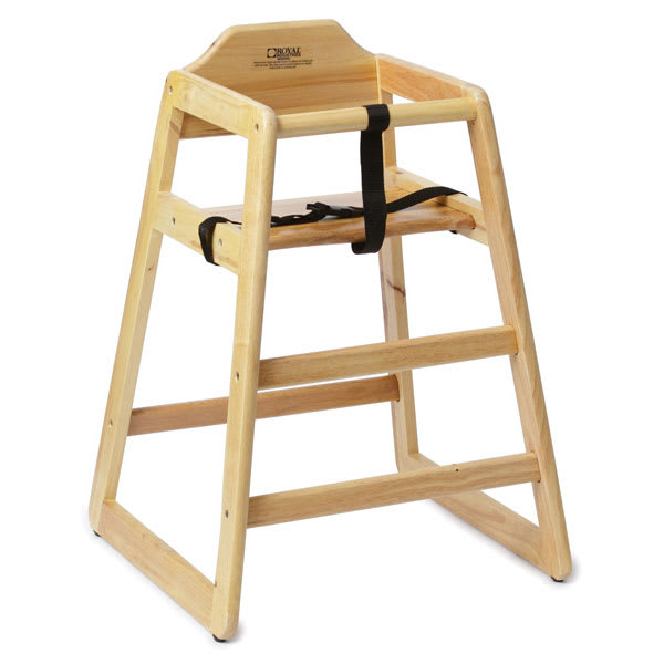 """Royal Industries ROY700N 29"""" Stackable High Chair w/ Waist Strap - Wood, Natural"""