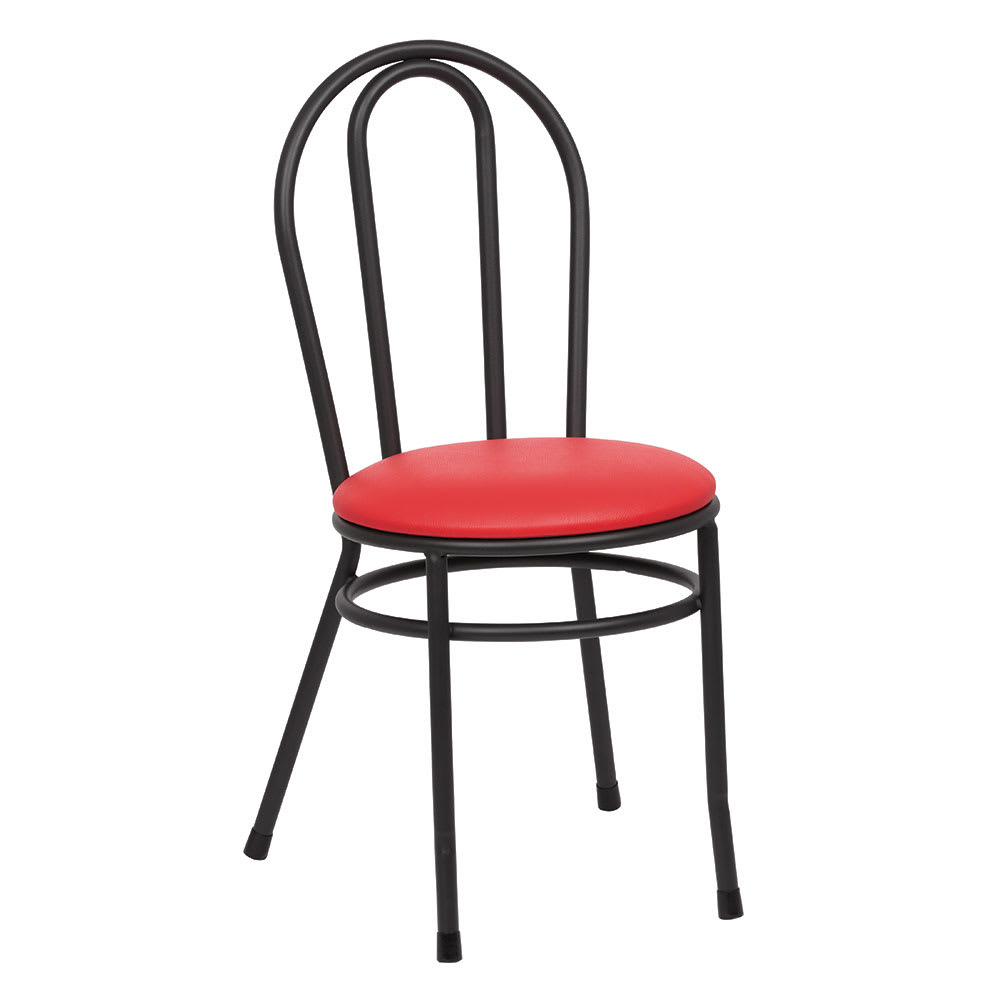 Royal Industries ROY 717 R Bistro Chair w/ Black Steel Frame & Red Vinyl Seat