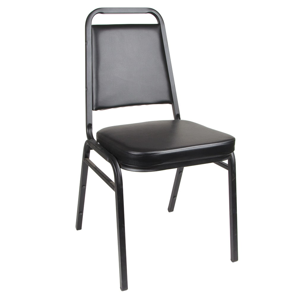 Royal Industries ROY718B Square Back Stack Chair w/ Steel Frame & Black Vinyl Upholstery