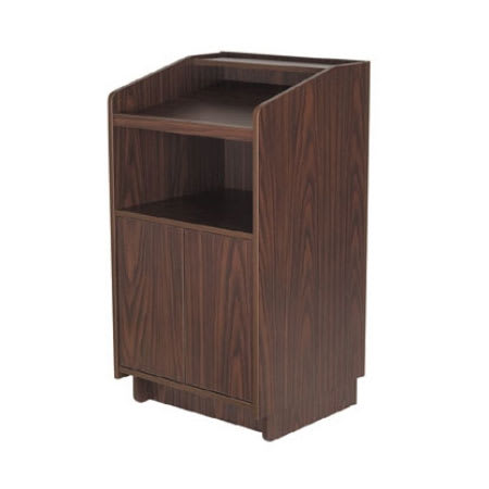 "Royal Industries ROY 734 W 46"" Assembled Podium w/ Casters & Walnut Melamine Finish"
