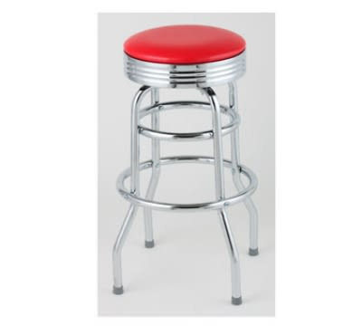 Royal Industries ROY 7710-2 R Assembled Classic Diner Bar Stool w/ Chrome Frame & Red Seat