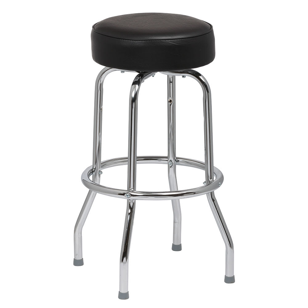 Royal Industries ROY 7711-2 B Assembled Single Ring Bar Stool w/ Chrome Frame & Black Seat