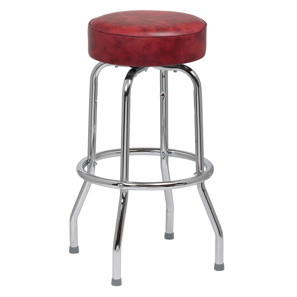 Royal Industries ROY 7711 CRM Single Ring Bar Stool w/ Chrome Frame & Crimson Vinyl Seat