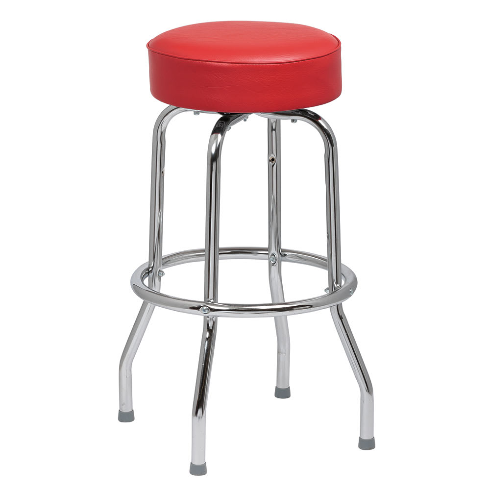 Royal Industries ROY 7711 R Single Ring Bar Stool w/ Chrome Frame & Red Vinyl Seat