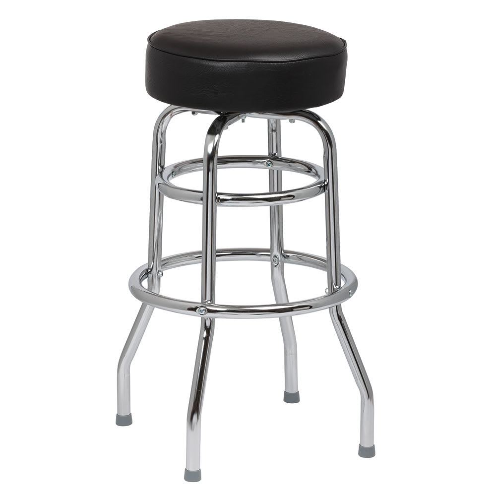 Royal Industries ROY 7712-2 B Assembled Double Ring Bar Stool w/ Chrome Frame & Black Seat