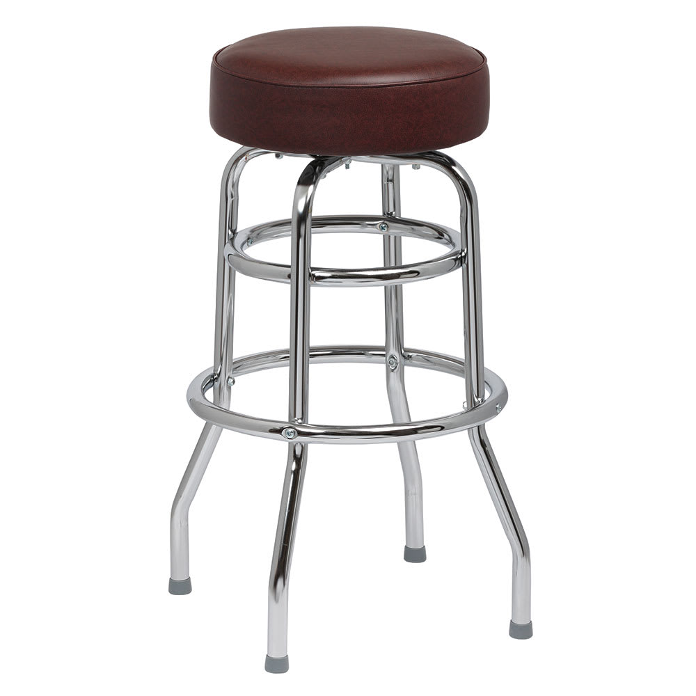 Royal Industries ROY 7712 BRN Double Ring Bar Stool w/ Chrome Frame & Brown Vinyl Seat