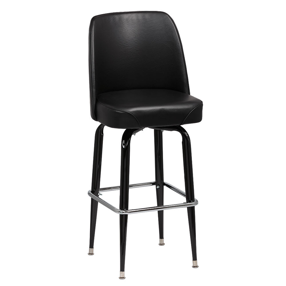 Royal Industries ROY 7714-1 B Assembled Black Square Frame Barstool w/ Black Vinyl Bucket Seat