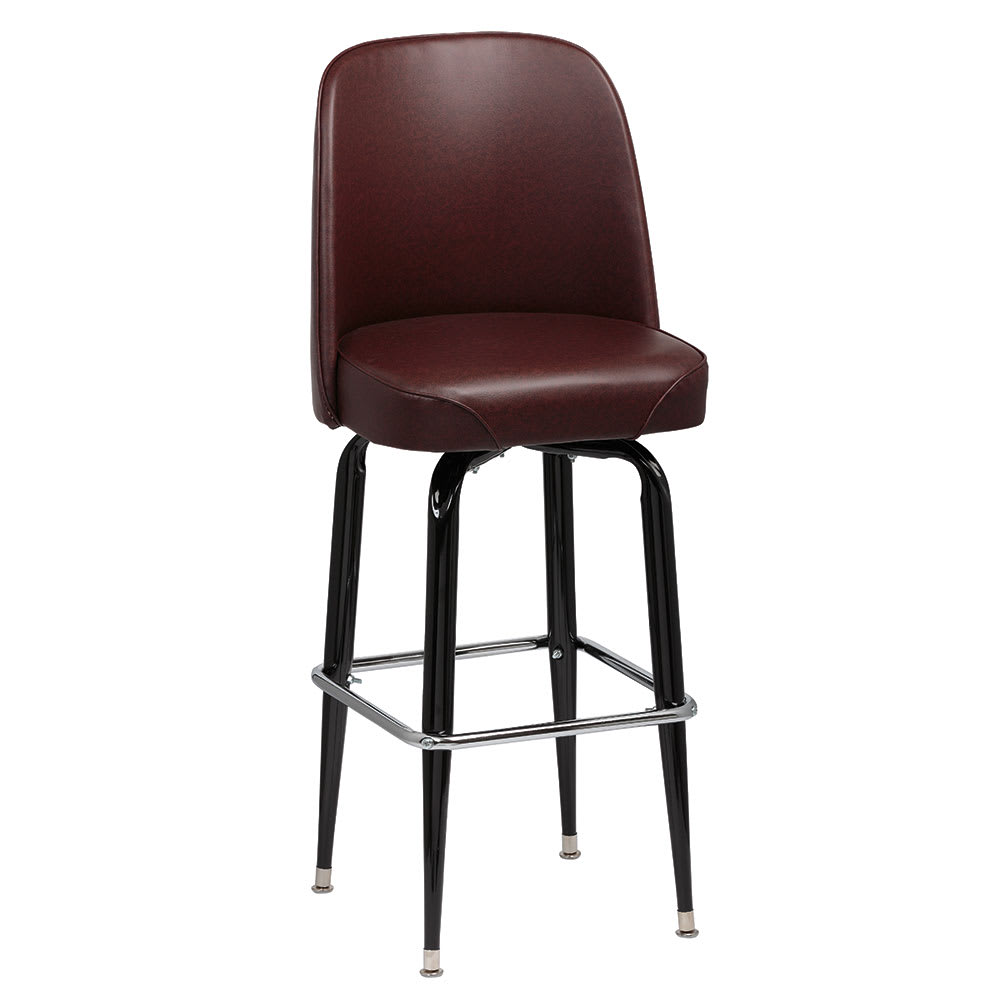 Royal Industries ROY 7714-1 BRN Assembled Black Square Frame Barstool w/ Brown Vinyl Bucket Seat