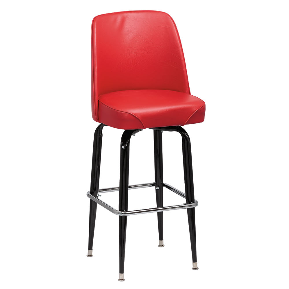 Royal Industries ROY 7714-1 R Assembled Black Square Frame Barstool w/ Red Vinyl Bucket Seat