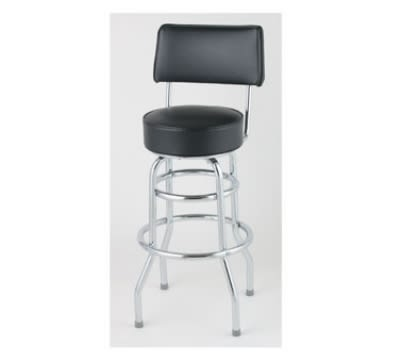 Royal Industries ROY 7716 CRM Open Back Double Ring Bar Stool w/ Chrome Frame & Crimson Seat