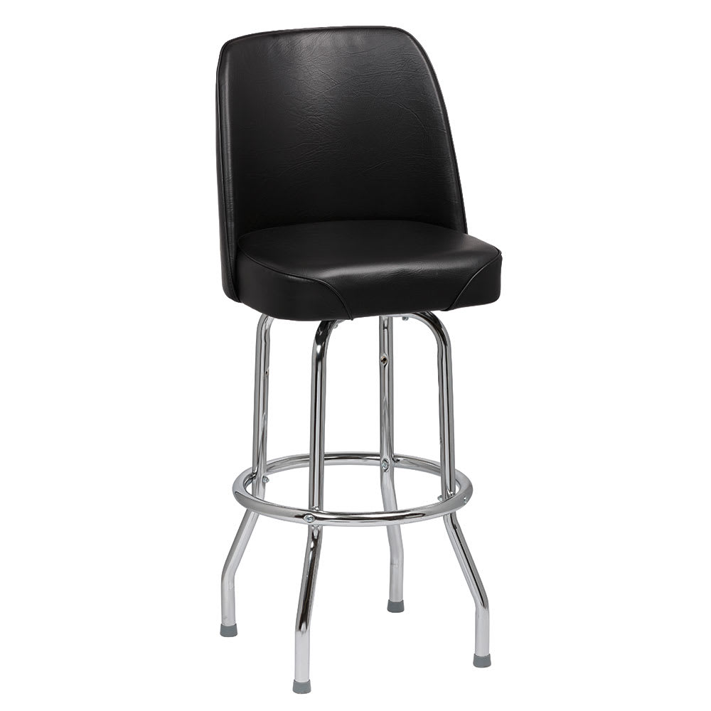 Royal Industries ROY 7721 B Single Ring Bar Stool w/ Chrome Frame & Black Vinyl Bucket Seat