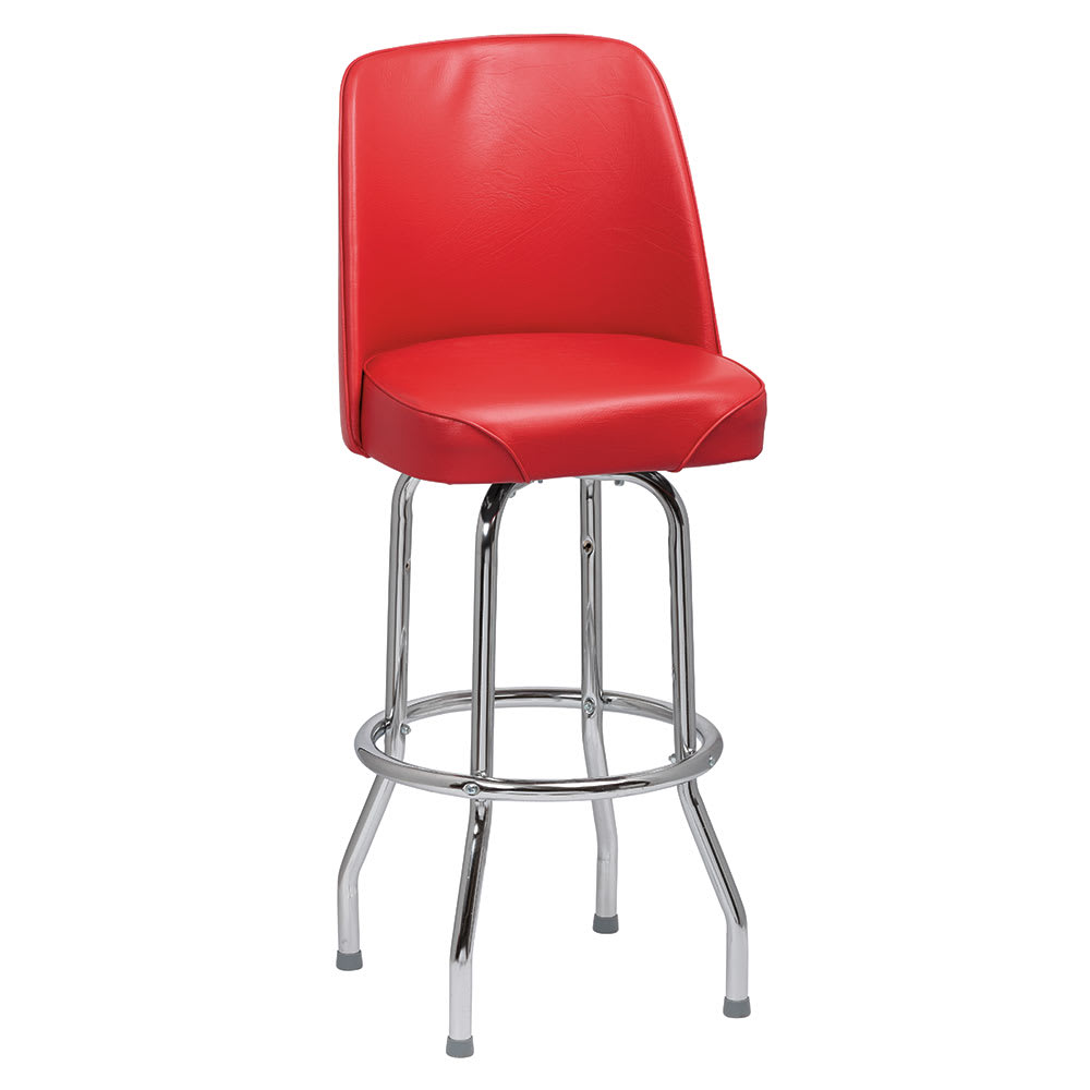 Royal Industries ROY 7721 R Single Ring Bar Stool w/ Chrome Frame & Red Vinyl Bucket Seat