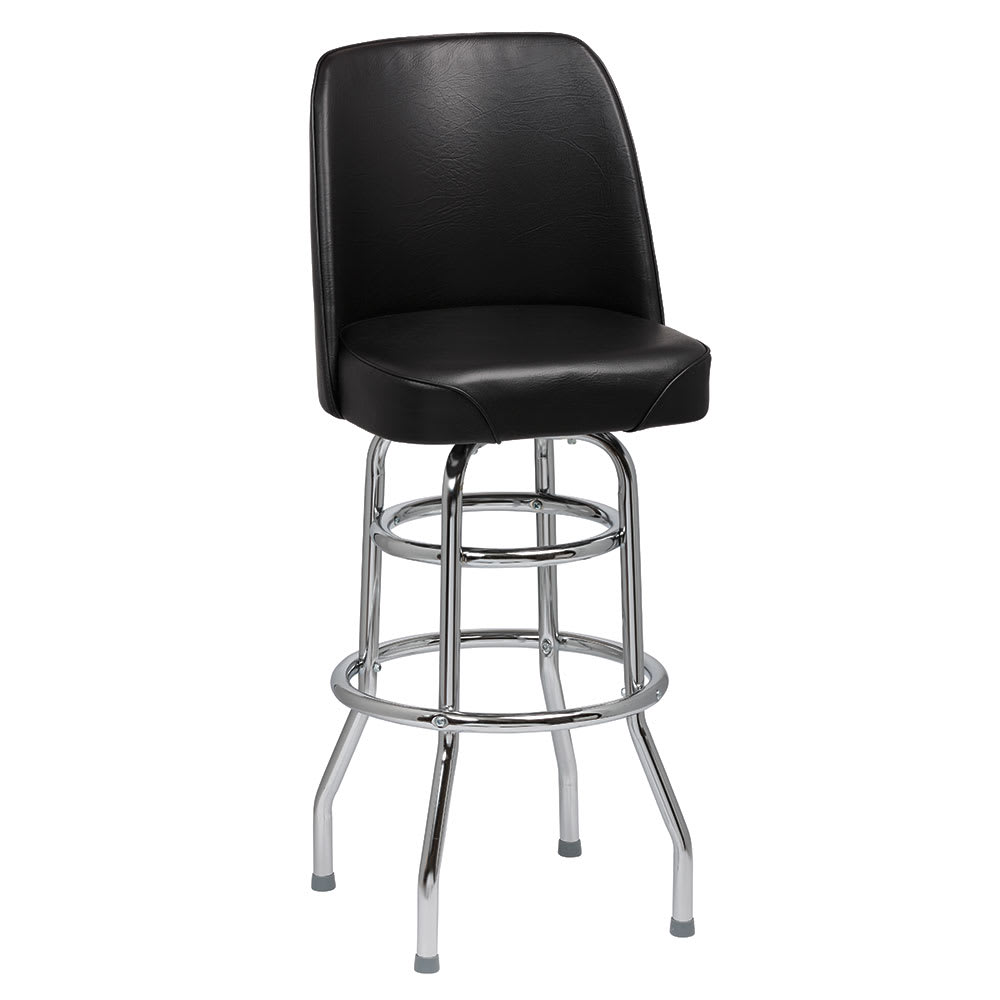 Royal Industries ROY 7722 B Double Ring Bar Stool W/ Chrome Frame U0026 Black  Vinyl Bucket Seat