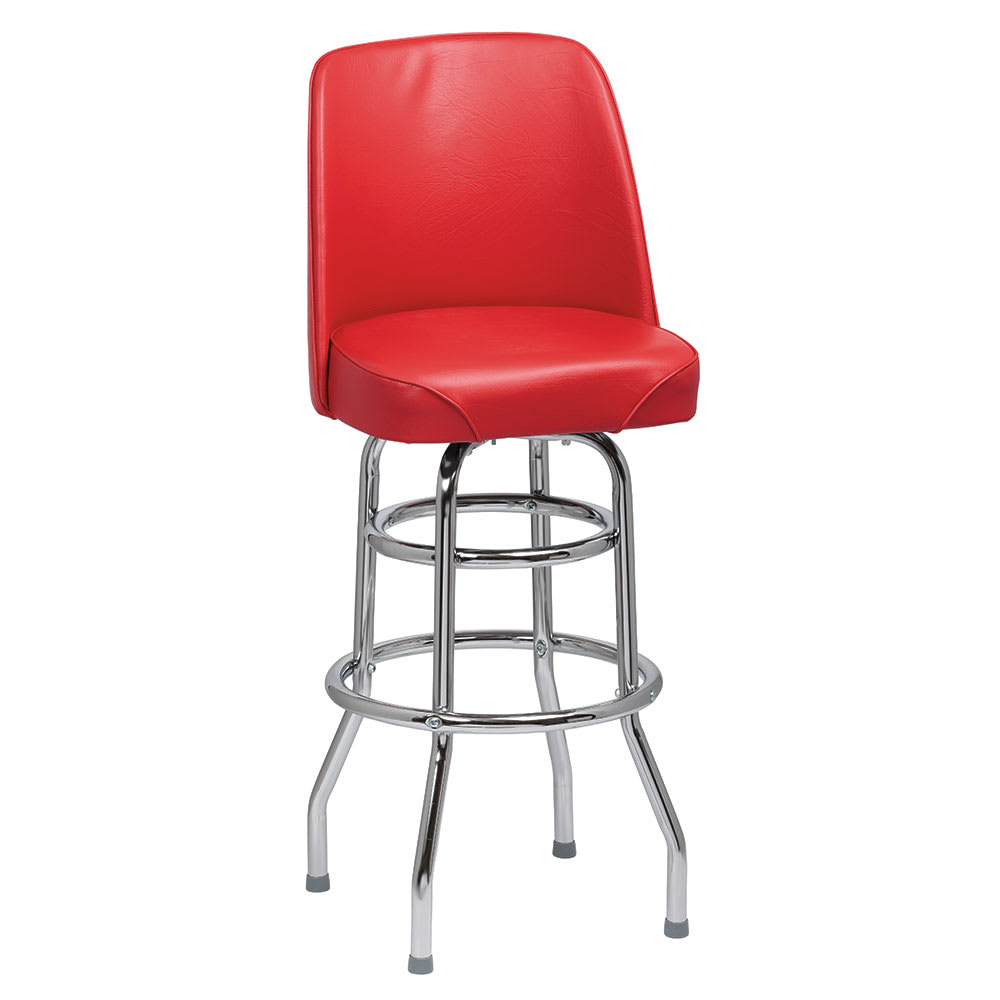Royal Industries ROY 7722 R Double Ring Bar Stool w/ Chrome Frame & Red Vinyl Bucket Seat
