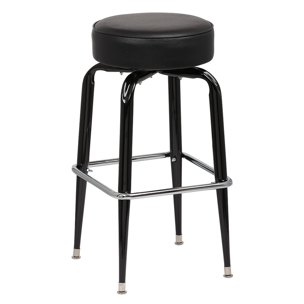 Royal Industries ROY 7723 B Black Square Frame Bar Stool w/ Standard Black Vinyl Seat