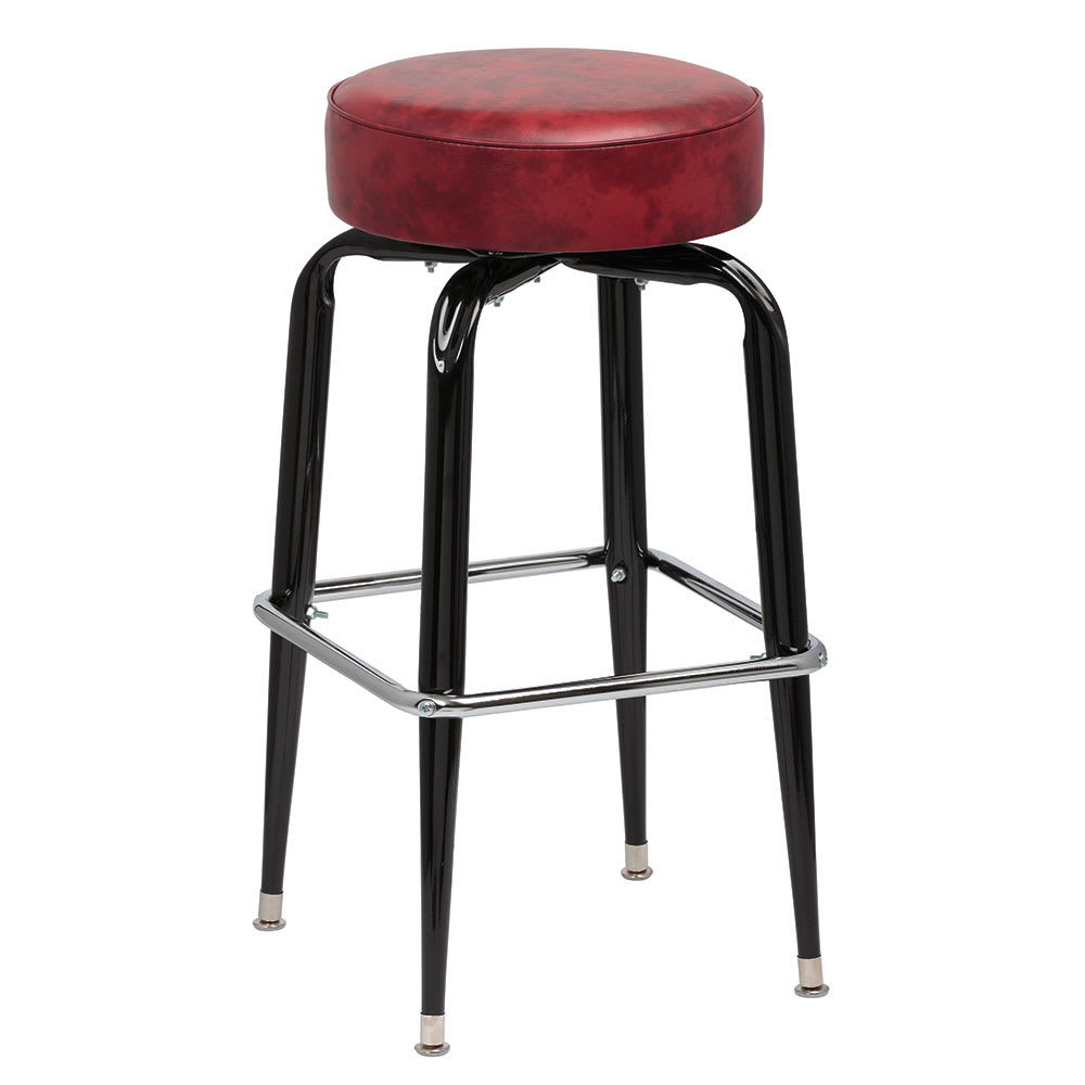 Royal Industries Roy 7723 Crm Black Square Frame Bar Stool