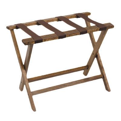"Royal Industries ROY 778 19.5"" Compact Wood Luggage Rack w/ Walnut Finish"