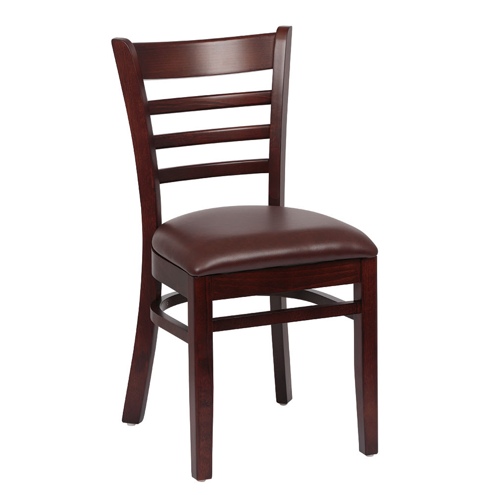 Royal Industries ROY 8001 W BRN Ladder Back Wood Chair w/ Walnut Finish & Brown Upholstered Seat