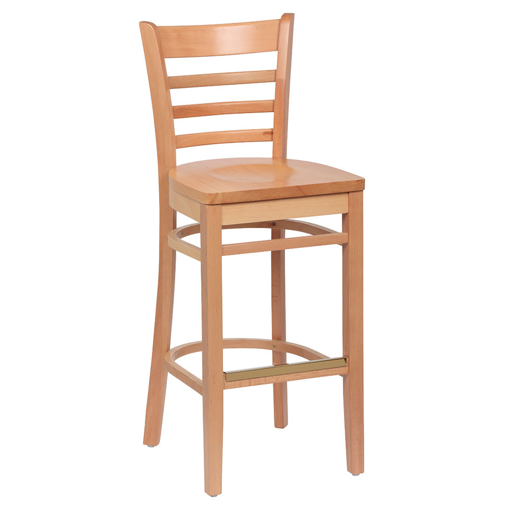 ladder back wood bar stools royal industries roy 8002 ladder back wood bar stool w hardwood seat natural finish