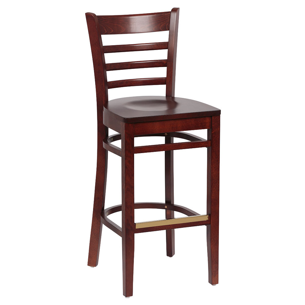 wooden seat bar stools. Royal Industries ROY 8002 W Ladder Back Bar Stool W/ Hardwood Seat \u0026 Walnut Finish Wooden Stools G
