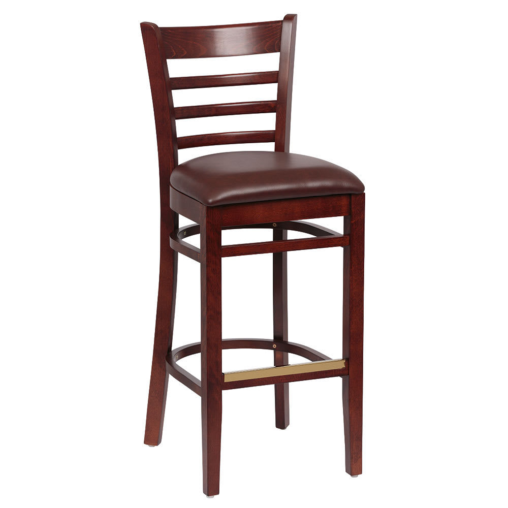 Royal Industries ROY 8002 W BRN Ladder Back Bar Stool w/ Walnut Finish & Brown Upholstered Seat