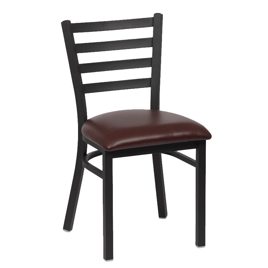 "Royal Industries ROY9001BRN 33.5"" Side Chair w/ Brown Vinyl Seat - Metal Frame, Matte Black"