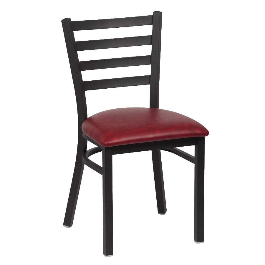 "Royal Industries ROY9001CRM 33.5"" Side Chair w/ Crimson Vinyl Seat - Metal Frame, Matte Black"