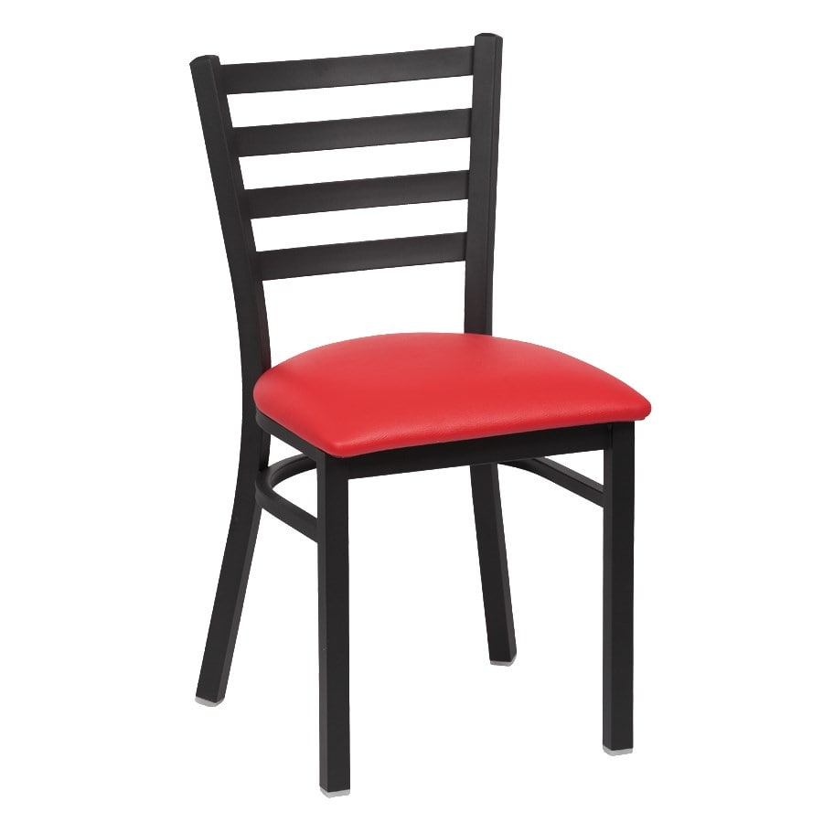 "Royal Industries ROY9001RED 33.5"" Side Chair w/ Red Vinyl Seat - Metal Frame, Matte Black"
