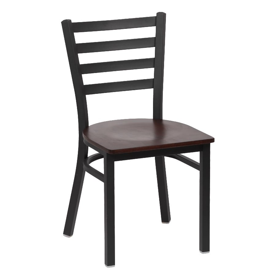 "Royal Industries ROY9001W 33.5"" Side Chair w/ Walnut Wood Seat - Metal Frame, Matte Black"
