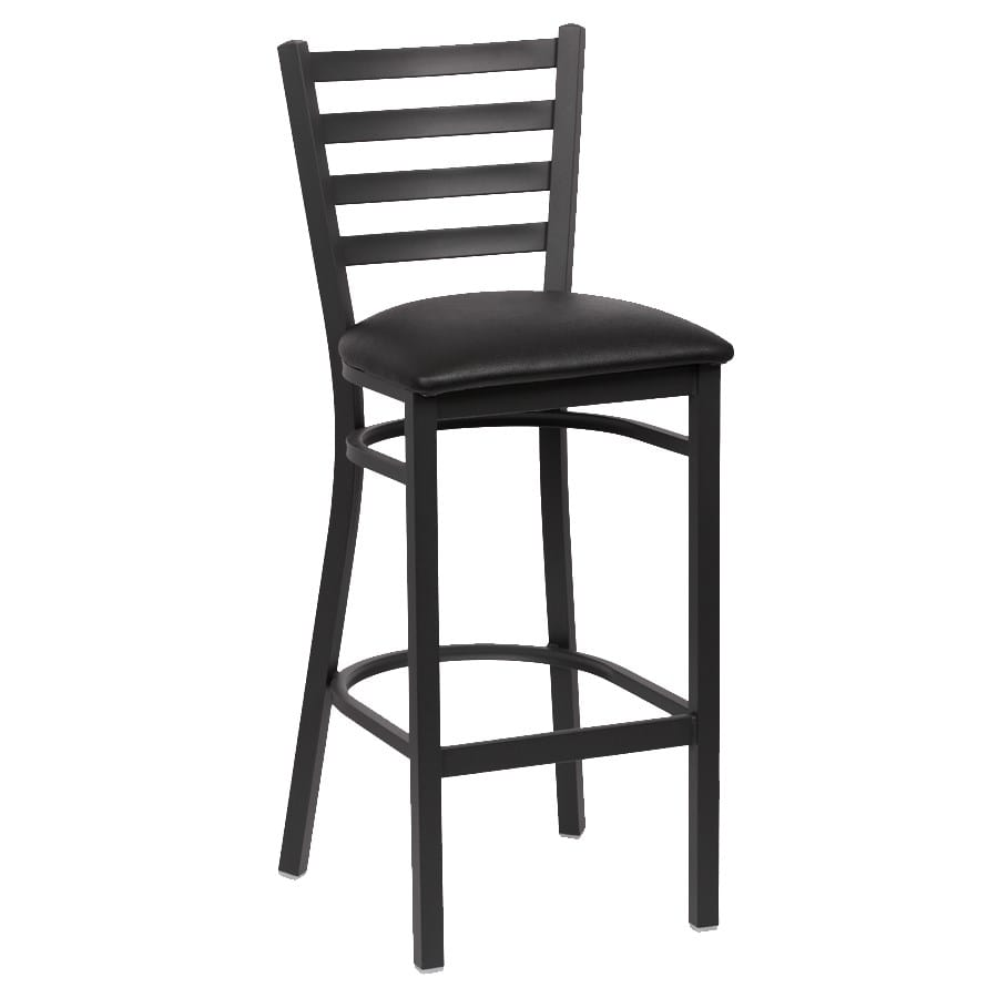 "Royal Industries ROY9002BLK 43.38"" Bar Stool w/ Black Vinyl Seat - Metal Frame, Matte Black"