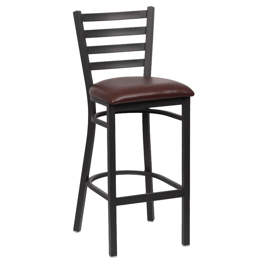 "Royal Industries ROY9002BRN 43.38"" Bar Stool w/ Brown Vinyl Seat - Metal Frame, Matte Black"