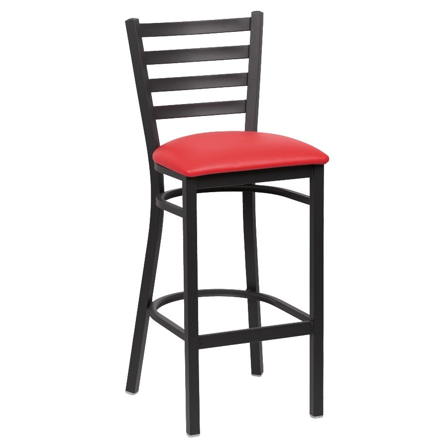 "Royal Industries ROY9002RED 43.38"" Bar Stool w/ Red Vinyl Seat - Metal Frame, Matte Black"