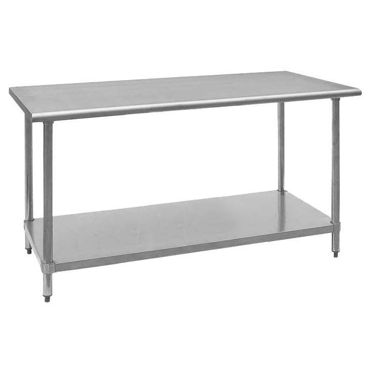 """Royal Industries ROYWT2460 60"""" 18 ga Work Table w/ Undershelf & 430 Series Stainless Flat Top"""
