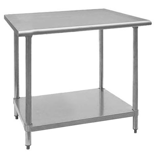 "Royal Industries ROYWT3030 30"" 18-ga Work Table w/ Undershelf & 430-Series Stainless Flat Top"