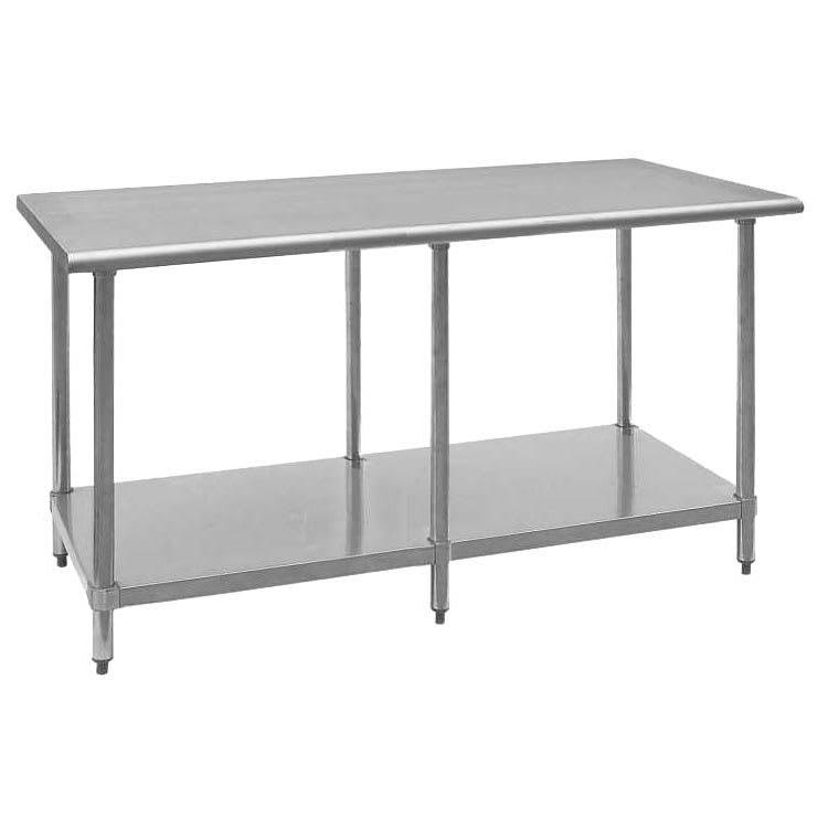 """Royal Industries ROYWT3096 96"""" 18-ga Work Table w/ Undershelf & 430-Series Stainless Flat Top"""